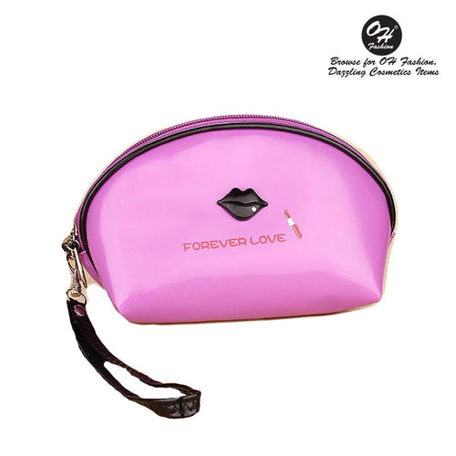 OH Fashion Cosmetic Bag Lipstick Love Famous in Purple (Small) - superfashionwholesaler