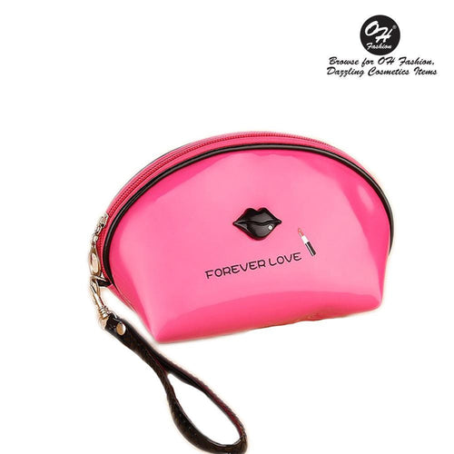 OH Fashion Cosmetic Bag Lipstick Love Fearless in Fuchsia (Small) - superfashionwholesaler