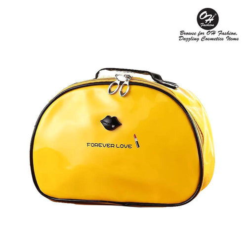 OH Fashion Cosmetic Bag Lipstick Love Marvelous in Yellow (Large) - superfashionwholesaler
