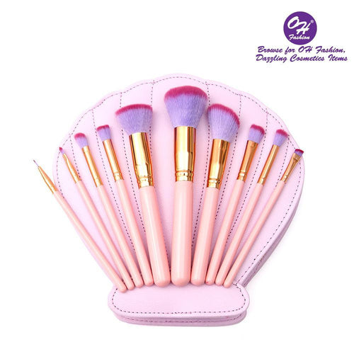 OH Fashion Makeup Brushes Mermaid Shell Kaia 11 Pcs - superfashionwholesaler