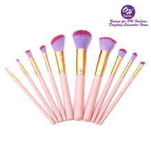 Load image into Gallery viewer, OH Fashion Makeup Brushes Mermaid Shell Kaia 11 Pcs - superfashionwholesaler