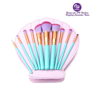 OH Fashion Makeup Brushes Mermaid Shell Oceana 11 Pcs - superfashionwholesaler
