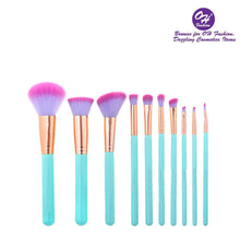 Load image into Gallery viewer, OH Fashion Makeup Brushes Mermaid Shell Oceana 11 Pcs - superfashionwholesaler