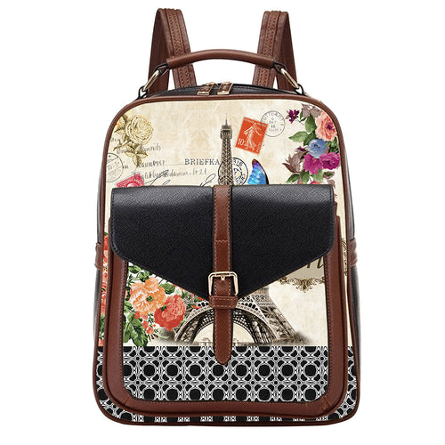 OH Fashion Handbag Backpack European Dream Collection Paris Black Design