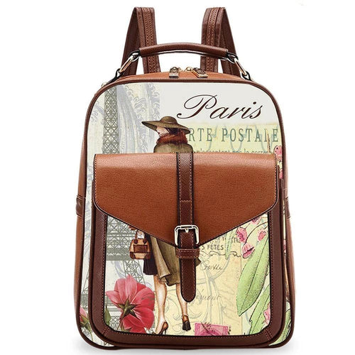 OH Fashion Handbag Backpack European Dream Lady Paris Brown - superfashionwholesaler
