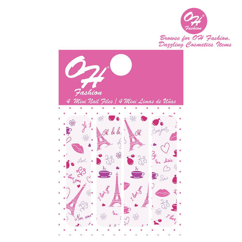 OH Fashion Mini Nail Files Pink Paris - superfashionwholesaler