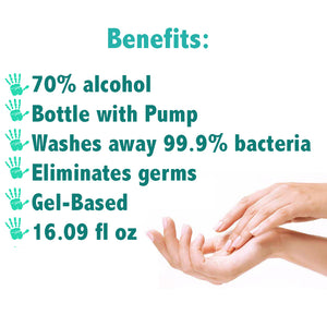 Hand Sanitizer with Pump 16.09 oz - FDA Approved Antibacterial Gel 70% alcohol