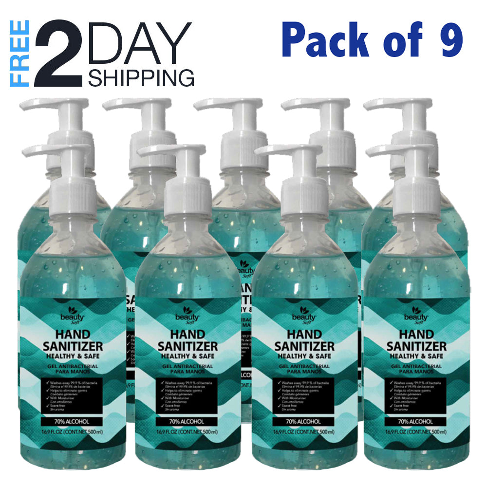 Hand Sanitizer with Pump 16.09 oz Pack of 9 FDA Approved Antibacterial Gel 70% alcohol