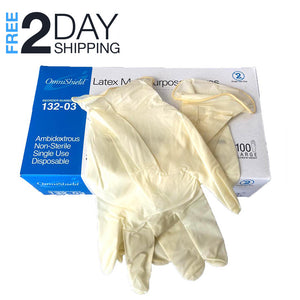 Superpharma Disposable Latex Gloves Large - Powder Free Dispenser Pack 100 PCs