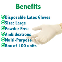 Load image into Gallery viewer, Superpharma Disposable Latex Gloves Large - Powder Free Dispenser Pack 100 PCs