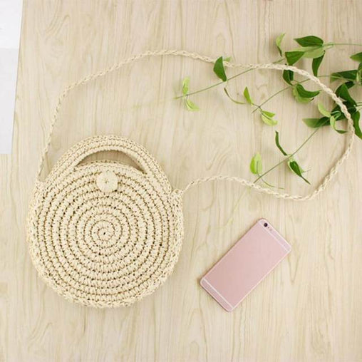 Woven Round Rattan Mini Straw Bali Bag -  | Club Xavier