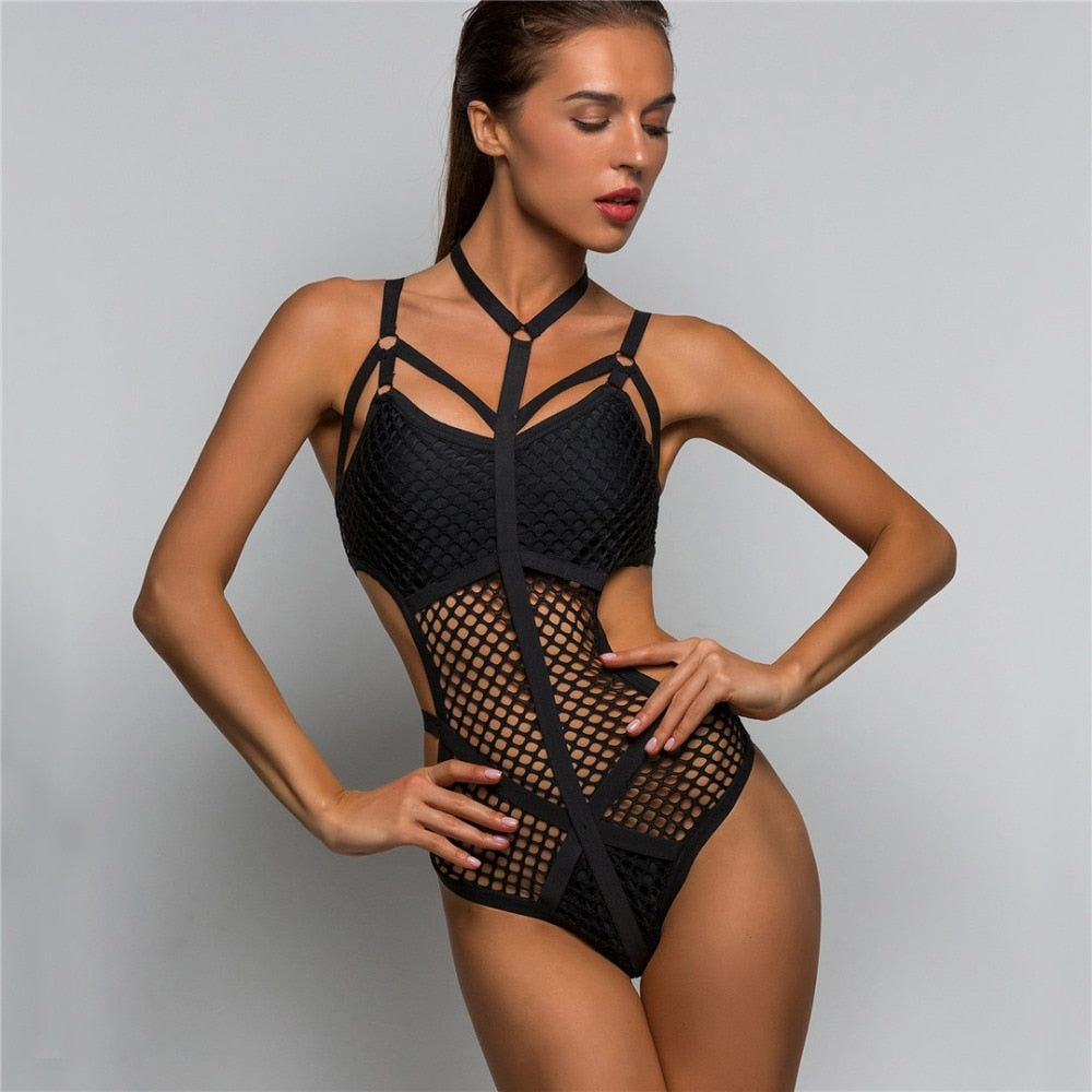 Mesh One Piece Swimsuit -  | Club Xavier