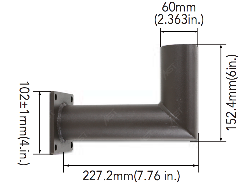 Horizontal Mount Mid-Pole Bracket with 2-3/8 inch OD Tenon Dims