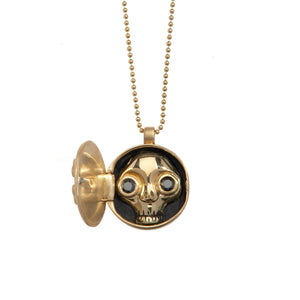 Juana Peekaboo Skull Locket - Black Diamonds