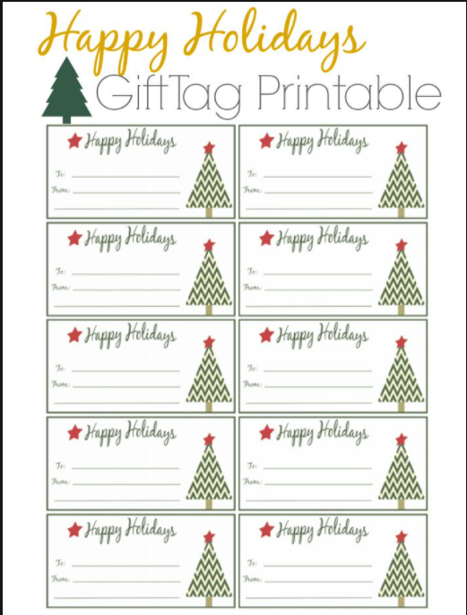 Printable Holiday Gift Tags - Reduce Holiday Waste