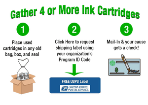 Recycle Ink Cartridges to raise funds for your organization. Free shipping label to return cartridges from anywhere