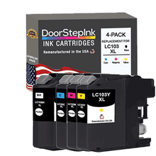 Load image into Gallery viewer, DoorStepInk Remanufactured in the USA Ink Cartridge for Brother LC103BK XL High Yield Black / 3 Color 4-Pack