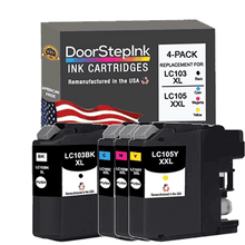 Load image into Gallery viewer, DoorStepInk Remanufactured in the USA Ink Cartridges for Brother LC103BK XL High Yield Black / LC105 3 Colors XXL Super High Yield 4-Pack