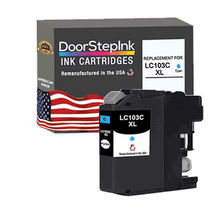 Load image into Gallery viewer, DoorStepInk Remanufactured in the USA Ink Cartridge for Brother LC103C XL High Yield Cyan