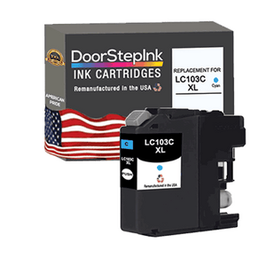 DoorStepInk Remanufactured in the USA Ink Cartridge for Brother LC103C XL High Yield Cyan