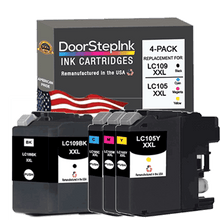 Load image into Gallery viewer, DoorStepInk Remanufactured in the USA Ink Cartridges for Brother LC109BK XXL Black / LC105 XXL 3 Color Super High Yield 4-Pack