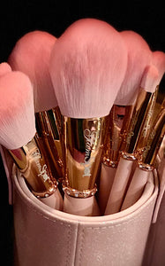 Luxury, Ombré Pink, 9 piece, Brush set with Swarovski Crystal Ferrule