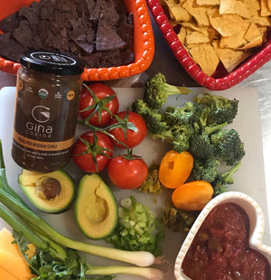 NACHOS – EVERYTHING AND THE KITCHEN SINK & GINA CUCINA ROASTED VEGGIE CHILI