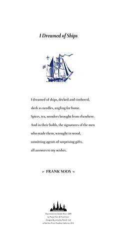 I Dreamed of Ships by Frank Soos SIGNED