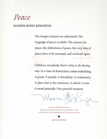 Peace by Maxine Hong Kingston SIGNED