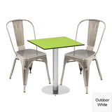 Outdoor Dining Bistro Set - Ashburn Square Table and 2 x Greenford Chairs