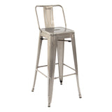 Greenford Gunmetal Bar Stool with Back