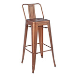 Greenford Vintage Copper Bar Stool with Back
