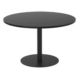 Black Circular Meeting Table with Column Base Leg