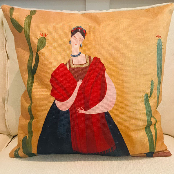 Frida Khalo with cactus cushion cover