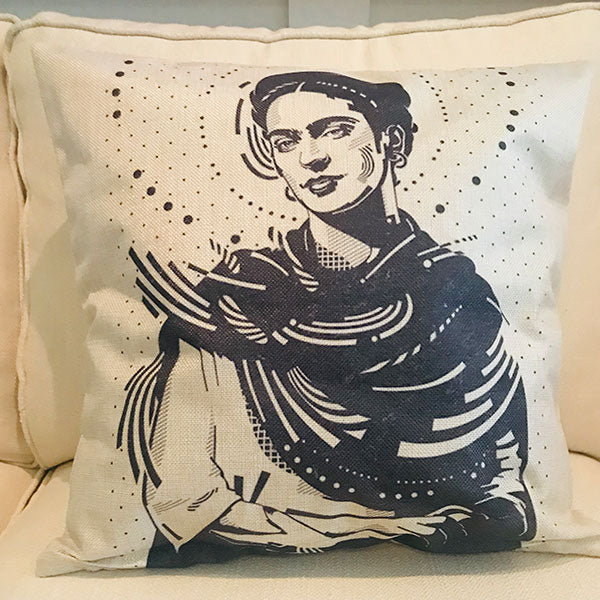 Frida Khalo in black and white cushion covers