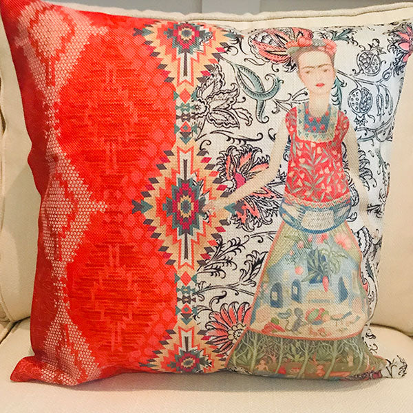 Frida Khalo with Mexican design cushion covers