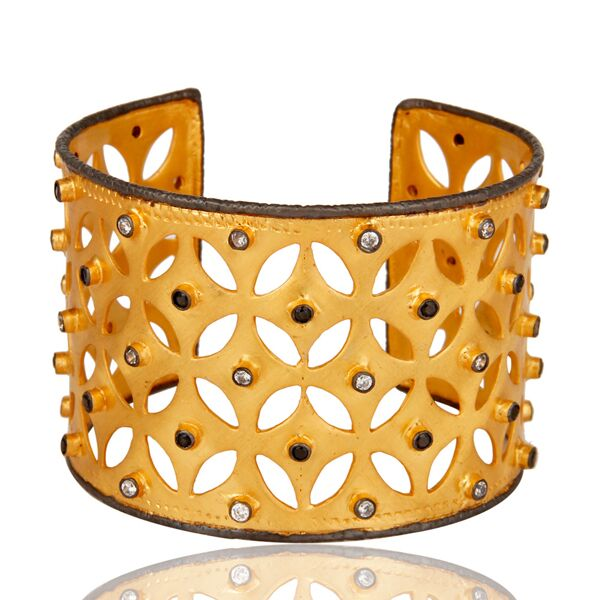 Gold plated brass with black & white zircon cuff