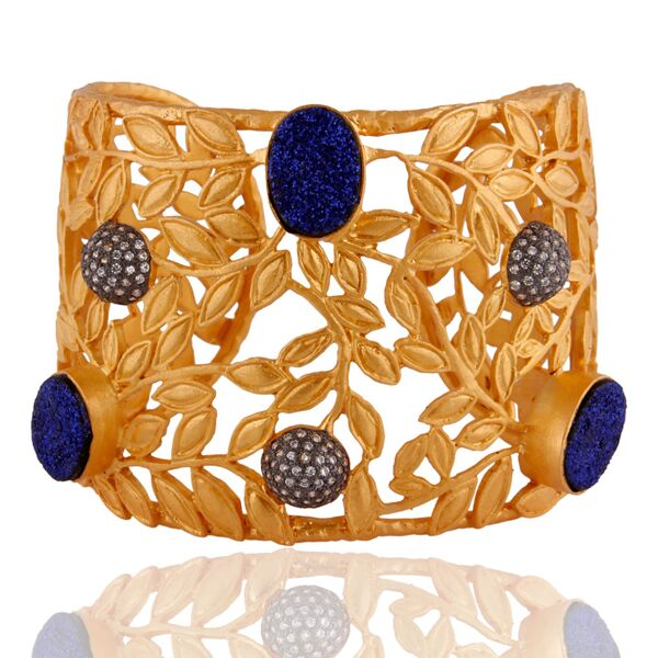 18K yellow gold plated brass with floral design cuff