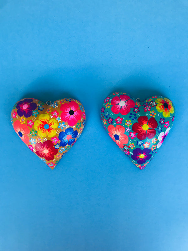 Bright color wooden hearts