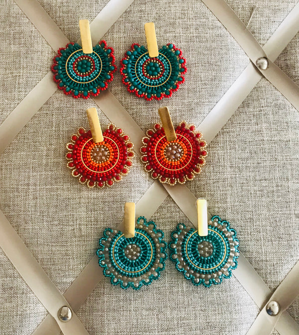 Flower design beaded earrings