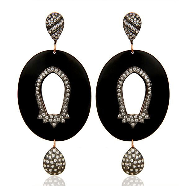 White zircon bakelite fashion earrings