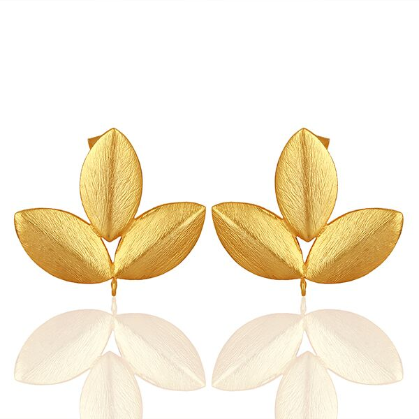 Fashion gold plated earrings with 3 leaves