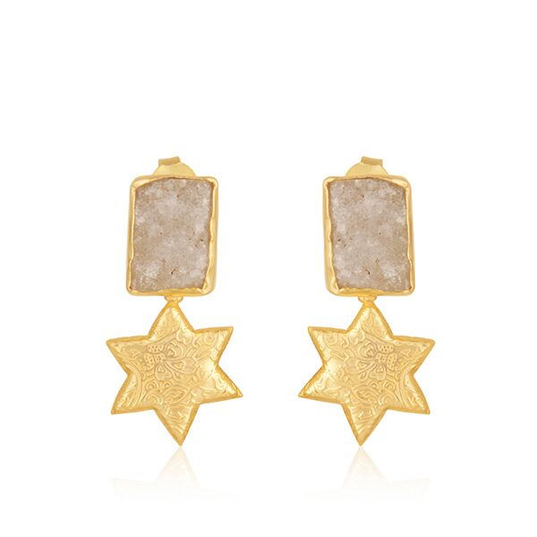 Star design gold plated brass earrings with druzy