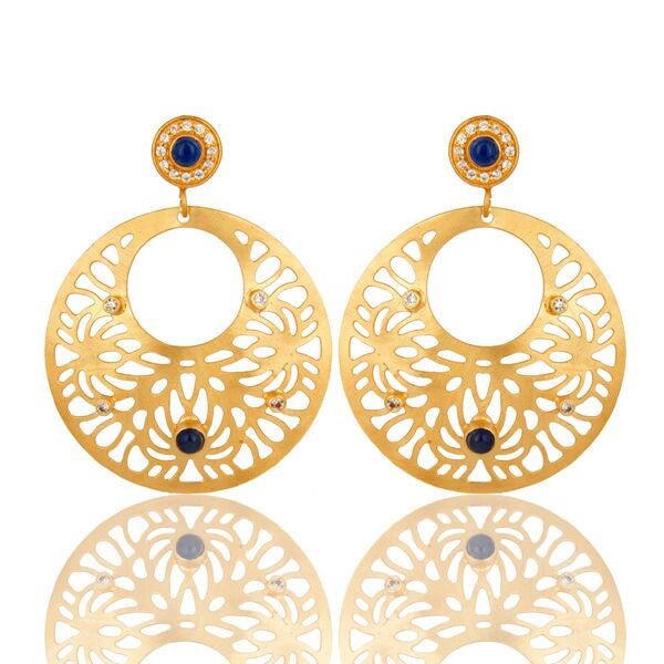 18K yellow gold plated brass filigree earrings