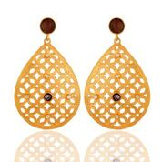 Artisan filigree design gold plated earrings
