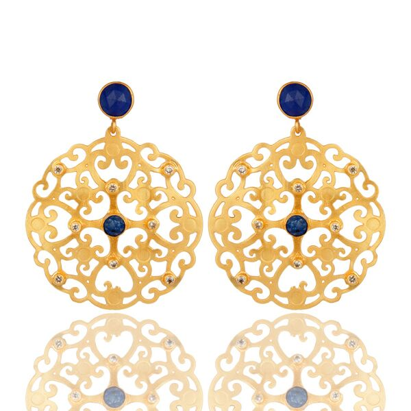 24K gold plated filigree designer earrings