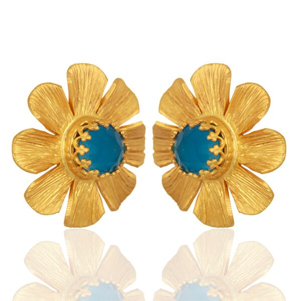 Flower with blue chalcedony stud  earrings