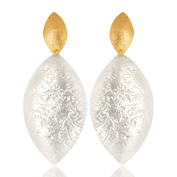Beautiful hammered two tone  earrings
