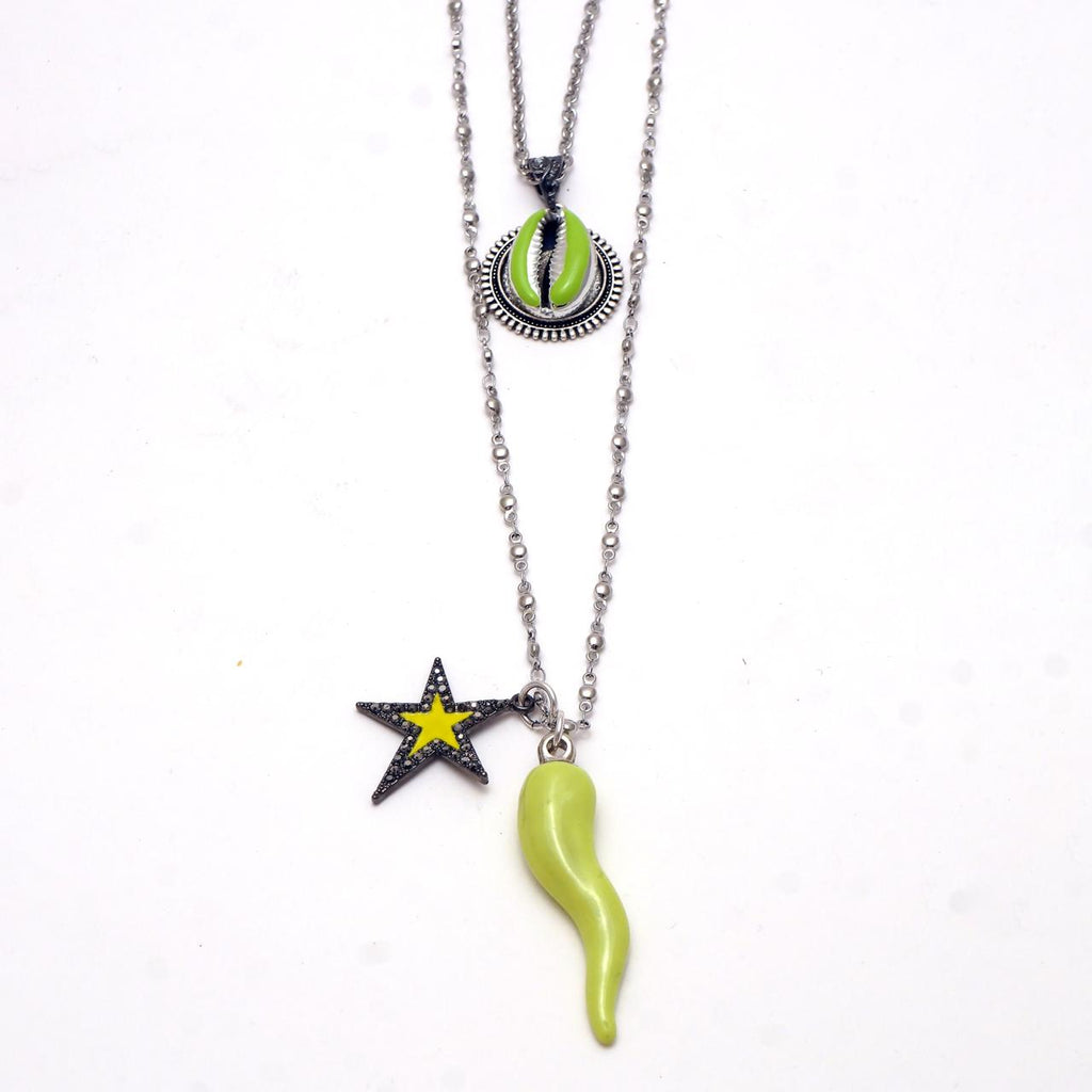 Enameled Pepper  Stainless Steel Necklace- hand & psyque by Ifigenia Loukou