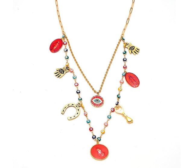 Double  Necklace with charms - hand & psyque by Ifigenia Loukou